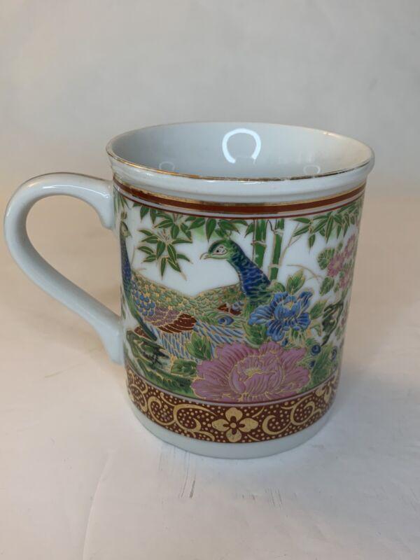 Vintage Japanese Imari Porcelain Peacock Design Coffee Mug