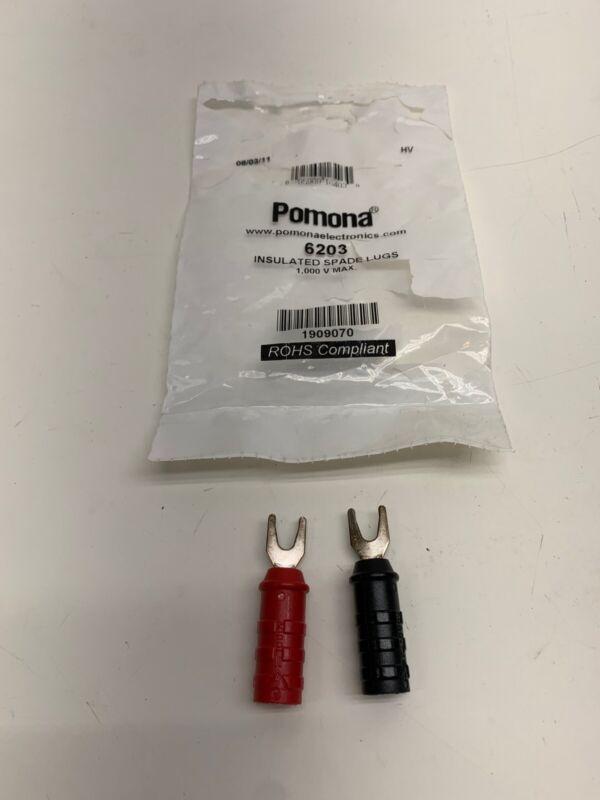 POMONA 6203 Spade Lug,1000VDC,15A,Red & Black