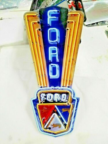 "Ford sign 16"" x 8 Neon style sign in Steel metal Jubilee Mustang Truck Garage +"
