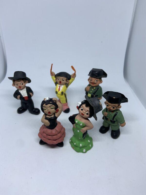 Vintage Spanish Mud People (Set Of 6) Flamenco Dancers, Military, Matador READ!