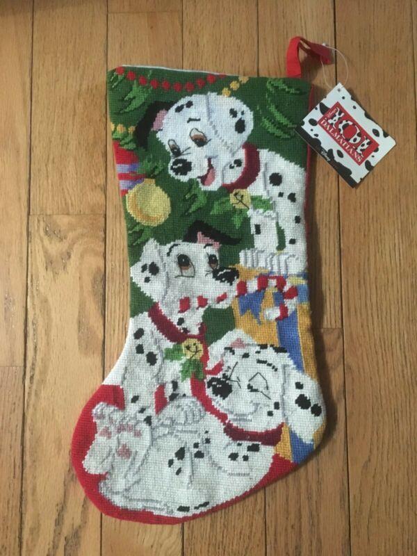 "Vintage 101 Dalmatians Disney Needlepoint Christmas Stocking 18"""
