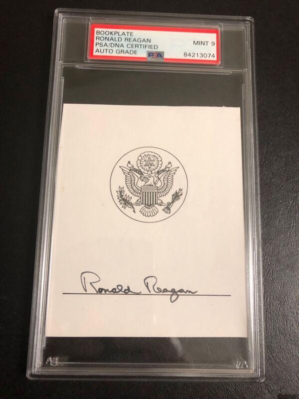 Ronald Reagan Signed Cut Bookplate Signature PSA Mint 9 Auto Slabbed 84213074