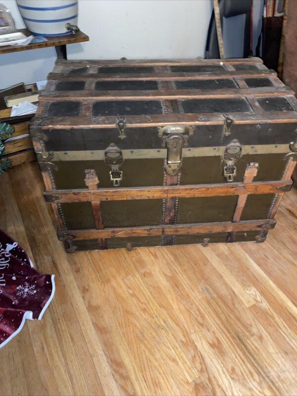 Flat Top Steamer Trunk Antique Vintage Flat Top Trunk Treasure Chest Moran Bros