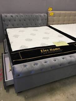 Grey Brand New Luxury 2 Drawers Fabric Euro Style Bed all size