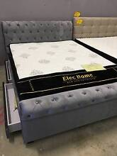 Queen Grey Brand New Luxury 2 Drawers Fabric Euro Style Bed Frame Clayton South Kingston Area Preview