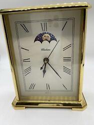 Vintage Chelsea Moon Phase Hermle Quartz 2100 Brass Heavy Mantle Mantel Clock