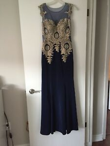 Dark blue and gold engagmemt dress