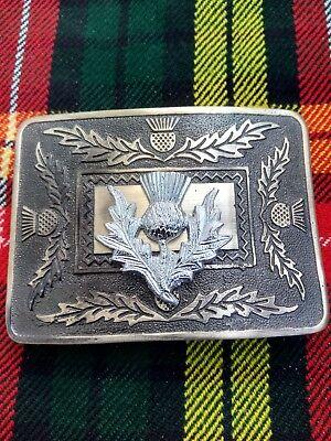 Men's Thistle Kilt Belt Buckle Brass Antique & Chrome Finish For Kilt Belt