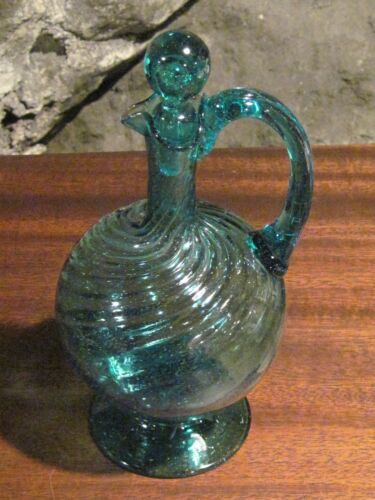 Antique Teal swirl blown glass pitcher with stopper