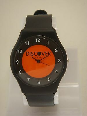 Classic Unisex Discover Card Wrist Watch With Orange Black Dial   Silicone Band
