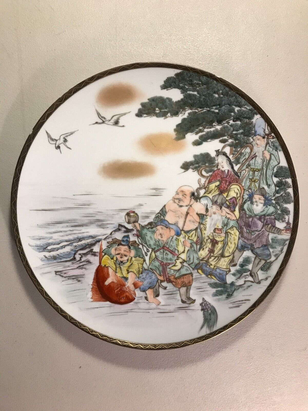 RARE Antique KUTANI The Seven Gods Of Fortune Hand Painted Plate 12 Excellent - $299.00