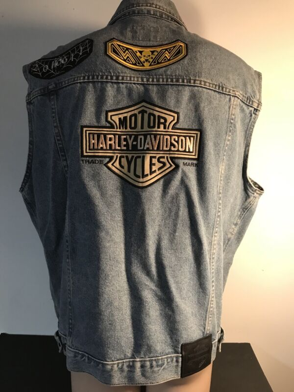 Harley Davidson Mens Denim Jean Cutoff Vest Jacket Distressed Sz L Many Patches