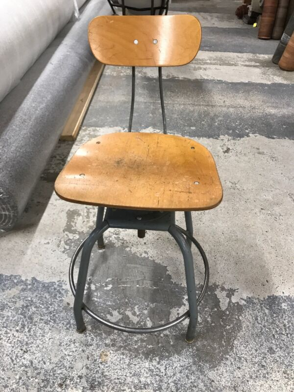 Vintage Hallowell Drafting Stool Adjustable Industrial Architect's Antique Chair