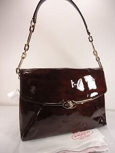 NWT COACH MADISON SHOULDER FLAP BAG IN PATENT LEATHER LEATHER LI TORTOISE F26223