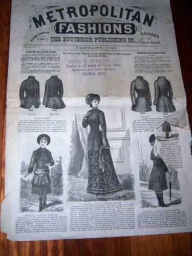 Vtg. METROPOLITAN FASHIONS Jan1882 Butterick Publishing Victorian Dress Patterns