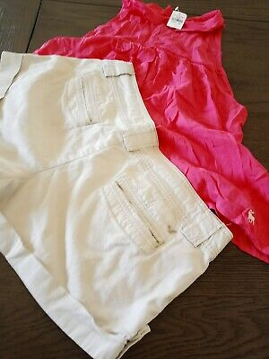 Abercrombie & Fitch NWT  Size L Sleeveless Top & AE khaki Short shorts 8 LOT