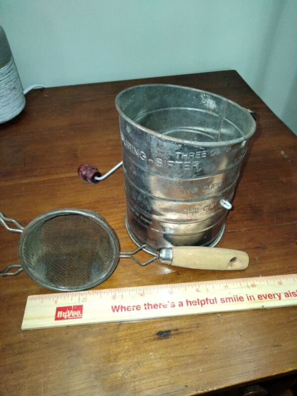 VINTAGE ANTIQUE flour sifter and small hand strainer