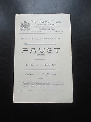 1924 FAUST GOUNOD THE OLD VIC THEATRE PROGRAMME  OPERA