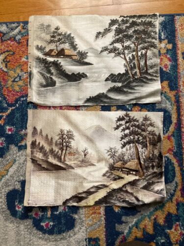 Vintage Silk Screen Hand Embroidered Fabric Nature Wall Textile Art Fabric Set