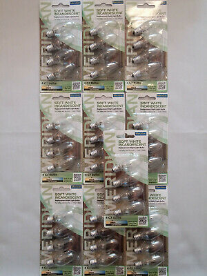 LOT OF 40 SOFT WHITE INCANDESCENT NIGHT LIGHT BULBS 4W WATT C7 2800K CLEAR 120V
