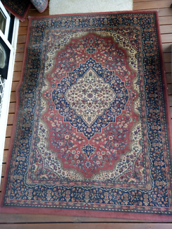 Red patterned rugs