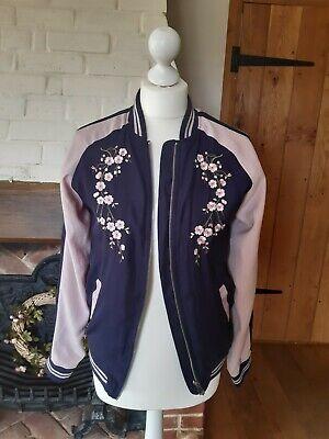 TU FLORAL SILK FEEL Jacket Coat Girls age 14 Ladies Size 10 VGC SUMMER ZIP LIGHT Floral Silk Coat