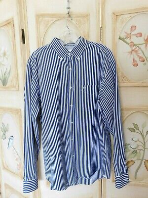 Lacoste Men's Button Up Long Sleeve Shirt Blue/White Striped 42 Regular Fit