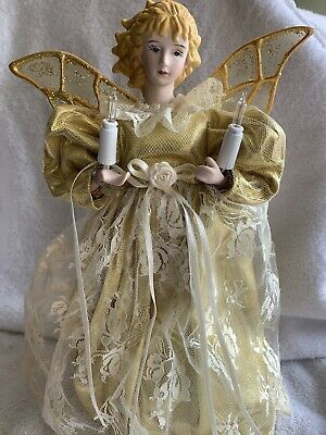 """Vintage Lighted Gold & Lace Angel Christmas Tabletop or Tree Topper 12"""""""