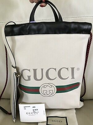 Gucci WHITE Leather with Vintage Logo-Drawstring backpack/tote - Italy-NWT SMALL