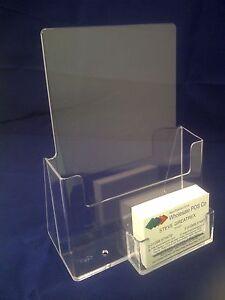 A5 Leaflet Holder Flyer Brochure Dispenser & Business Card Holder Display Stand