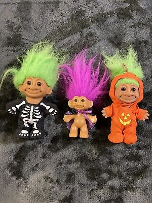 Lot of 3 Russ Halloween Trolls Skeleton Pumpkin And Caped