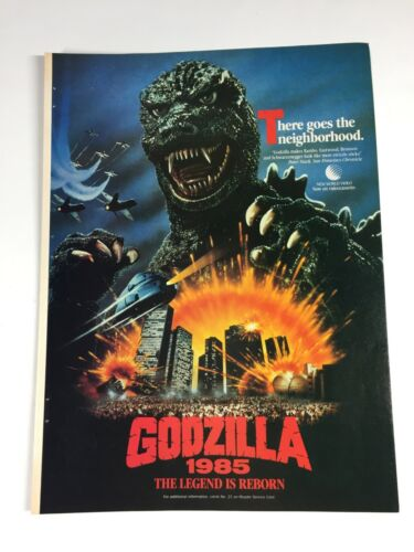 "Vintage 1986 Print Ad Advertisment GODZILLA 1985 Monster Movie poster 11""x8"""