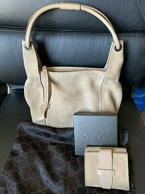 Gucci Suede Camel Coloured Handbag with Matching Purse