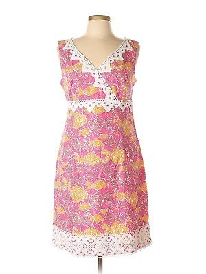 Women Lilly Pulitzer Jubilee Catherine Bell Pink Orange Fish Lace Dress Size 10