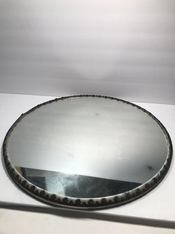 """Vintage Antique Round Thick Beveled Glass Dresser Mirror Vanity Tray 14"""""""