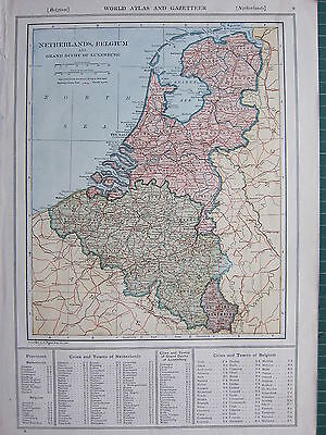 1926 MAP ~ NETHERLANDS BELGIUM LUXEMBURG LIMBURG ANTWERP PROVINCES CITIES & TOWN