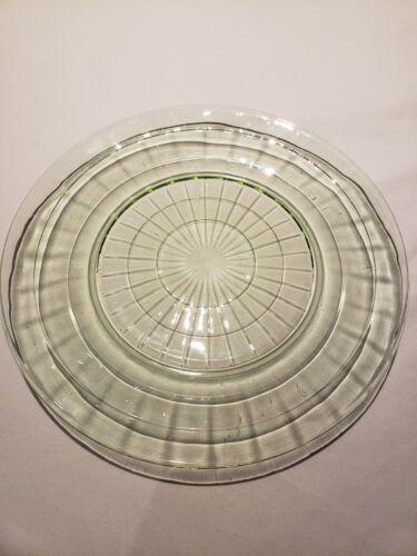 "Vintage Anchor Hocking Green Depression Block Optic Dinner  9 1/4"" Plate"