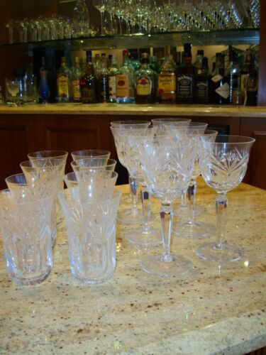 German Cut crystal Set of 8 Wine glasses & 8 matching water glasses Mint!