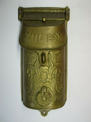 Vintage Brass Mail Box, Wall Mount with backing plate.