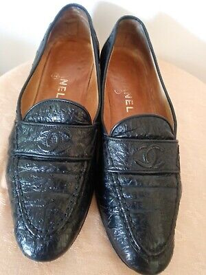 womens 9.5 chanel vintage loafers shoes black pre-owned