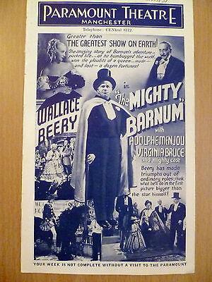 1935 Vintage Cinema Programme Paramount Treatre Newcastle ''The Mighty Barnum''