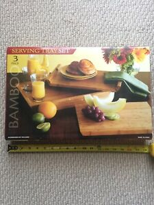 3 Piece Bamboo Serving Tray Set - NEW