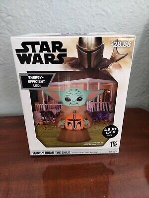 Star Wars Mandalorian The Child Yoda Light Up Airblown Inflatable 4.5' Halloween