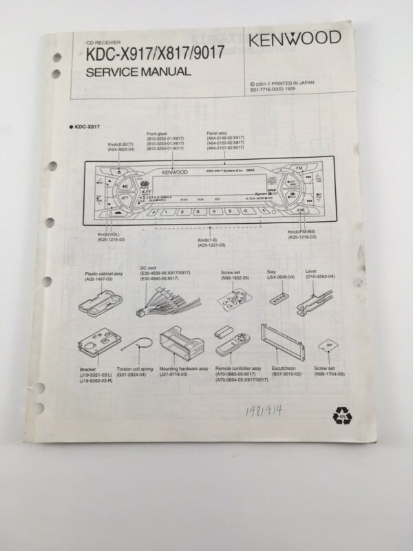 Original Kenwood KDC-X917/X817/9017 CD-Receiver Service Manual