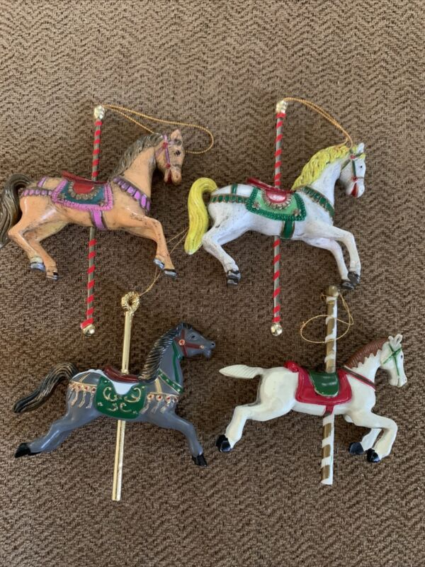 Lot of 4 Vintage Carousel Horse Pony Christmas Ornaments Holiday Classic 4""