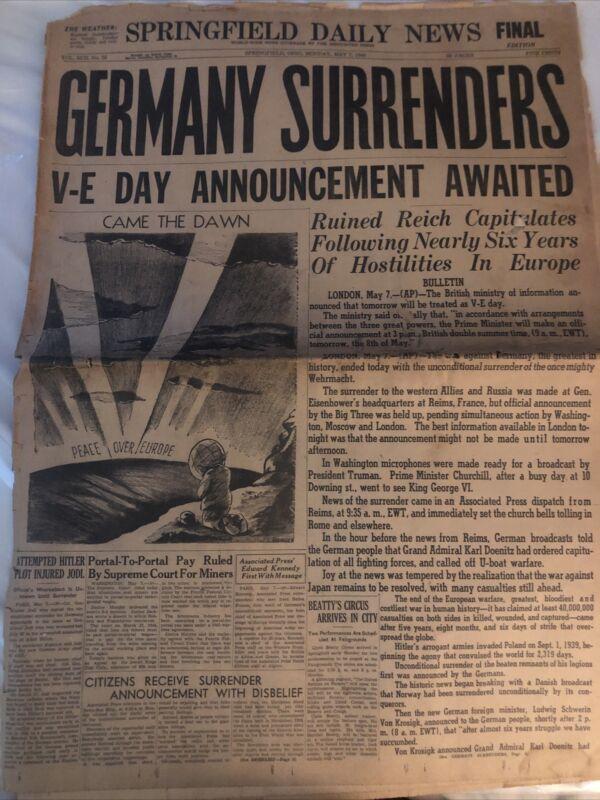Original World War 2 Newspaper Dated May 7, 1945, GERMANY SURRENDERS