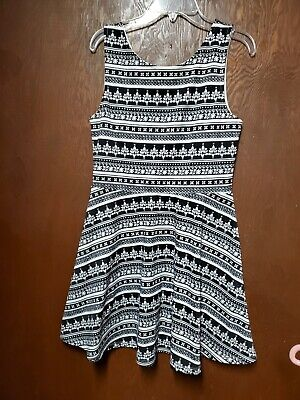"""Women """" Divided by H&M """" Tank Fit & Flare Printed Jersey Dress Size 12 Black"""