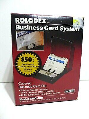 Vintage Rolodex Business Card File System Covered Holder Model Cbc-100 Black New