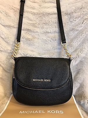 NWT MICHAEL KORS LEATHER BEDFORD FLAP CROSSBODY BAG IN BLACK