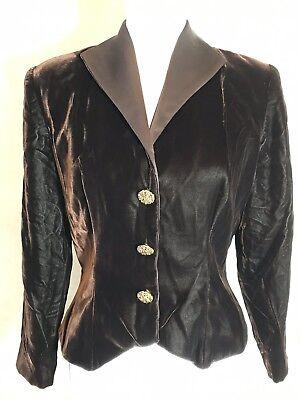 (After Five Vintage Brown Velvet Blazer Satin Collar Gold Snap Closure Size 8)